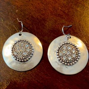 Silver plated disc earrings
